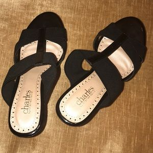 Black Wedge Sandals by Charles David
